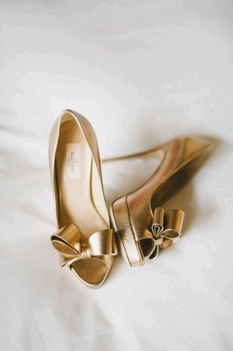 shoes gold golden heels high heels bow wedding shoes metallic shoes gold heels