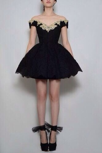 dress black tumblr prom black dress lace dress flowers vintage dress homecoming dress jewels puffy cupcake dress corset dress shoes black heels bow high heels ribbon mesh lace muffin dress petit over the shoulders white lace doror at the top