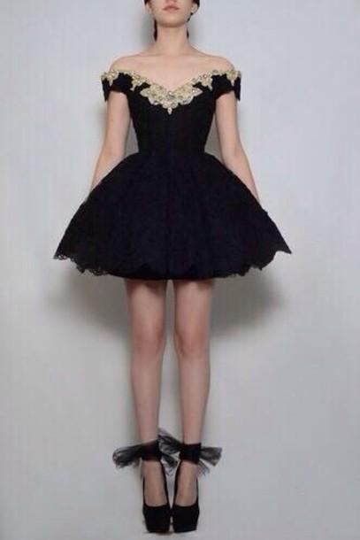 dress, black, tumblr, prom, black dress, lace dress, flowers ...