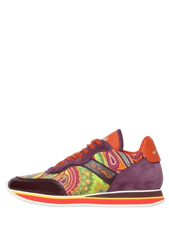 sneakers leather silk paisley purple orange shoes