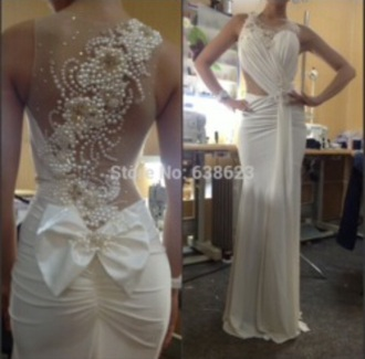 dress brand wedding wedding dress beading white dress ivory dress