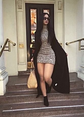 dress fall outfits coat warm black hair grey bag shades glasses sleek hot sexy fashion style street streetstyle sweater sweater dress booties thighs