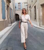 top,white shirt,high heel sandals,sandals,wide-leg pants,belt,bag
