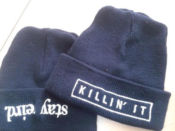 black skirt killin' it hat black beanie