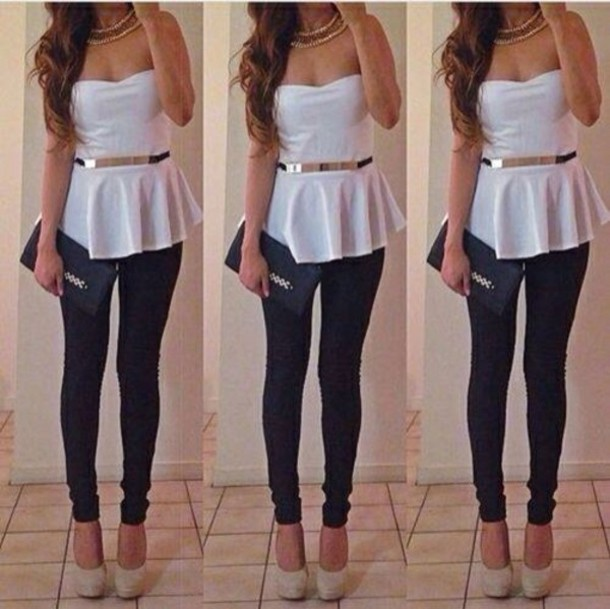 6762d04e765 tank top white gold peplum top jewels belt shoes pants blouse shirt black  silver necklace cute
