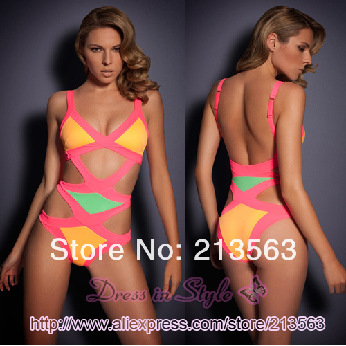 2013 Free Shipping Sexy Neon Mazzy Hot Summer Bandage A G Bikini Monokini Beachwear Swimwear Swimsuit Women Lady BodyCon DS938-in Bikinis Set from Apparel & Accessories on Aliexpress.com