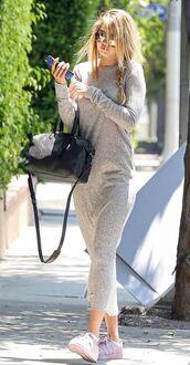 dress,sweater dress,midi dress,gigi hadid,sneakers,sunglasses,grey dress,model off-duty