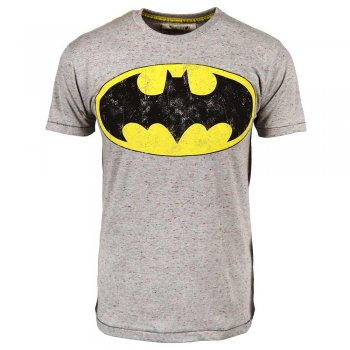 Mens Batman Logo Flec T Shirt Grey