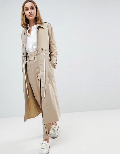 ASOS WHITE Trench Coat Co-ord With Rope Detail at asos.com