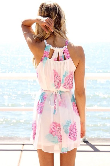 dress white dress colourful dress floral orchid pink