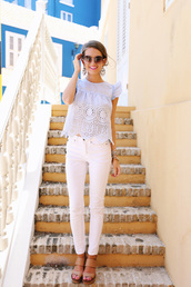 top,eyelet top,eyelet detail,summer top,jeans,white jeans,sandals,wedges,wedge sandals,nude sandals,summer outfits,sunglasses