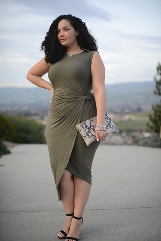 girl with curves blogger dress jewels bag shoes plus size plus size dress midi dress green dress army green wrap dress asymmetrical asymmetrical dress