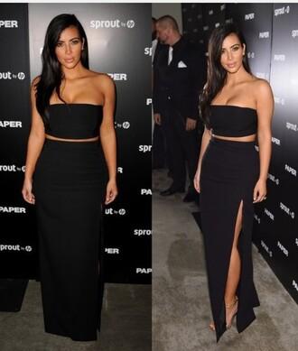 skirt maxi skirt slit maxi skirt black kim kardashian