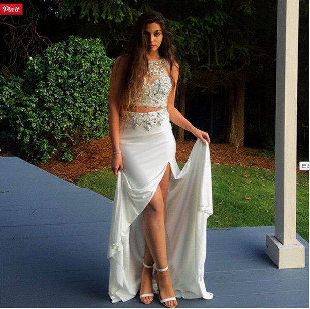 Dress Two Piece Prom Dresses Prom Dress White Beading Prom Dress