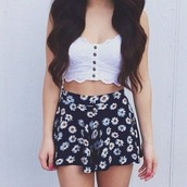 shorts,floral,shirt,skirt,flowers,crop tops,pink,tank top,black,white,yellow,daisy,flowered shorts,flowy pants,cute,flowy,loose,relaxed,blue,blue shorts,High waisted shorts,white daisy,crop,buttons,top,skirts and tops,black floral skirt,daisy shorts,daisyflower,cute  outfits,white top,clothes,girly,white crop tops,bralette,lace bralette,button up
