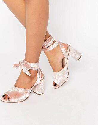 shoes heels sandals velvet shoes mid heel sandals light pink