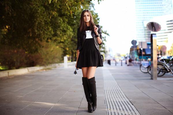 fashion agony dress jacket shoes bag jewels all black everything blogger black dress