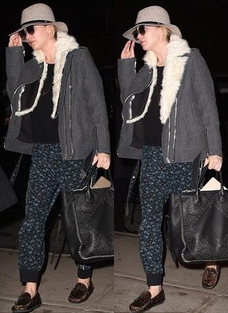 jacket hat jennifer lawrence bag shearling jacket printed pants pants