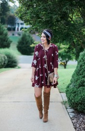 life & messy hair,blogger,dress,jewels,shoes,bag,burgundy,long sleeves,mini dress,knee high boots,suede boots,shoulder bag,nude bag,gucci,date outfit