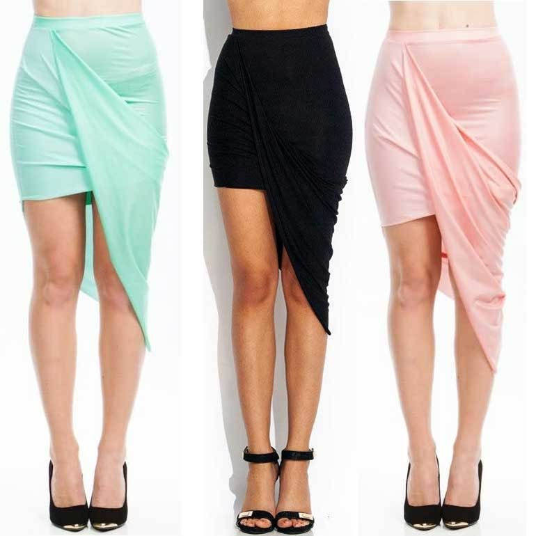 Draped Cutout Asymmetrical Skirt Six Colors Elastic Waist High Low Wraped s M L | eBay