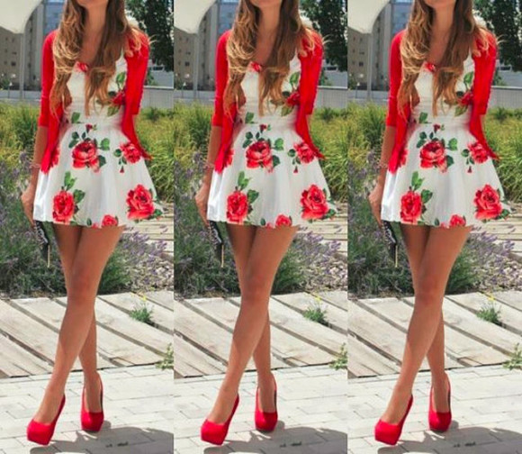 dress floral print dress white dress short dress
