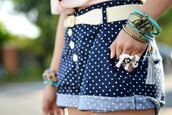 shorts,High waisted shorts,navy,polka dots,white,belt,cuffed shorts,stacked jewelry