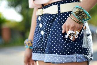 stacked jewelry shorts navy high waisted shorts polka dots white belt cuffed shorts