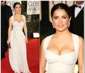 dress,cream,salma,hayek,prom,long,satin,halter neck