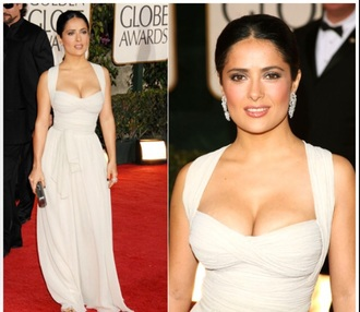 dress cream salma hayek prom long satin halter neck