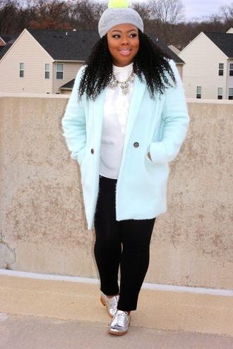 naja diamond blogger blouse light blue pom pom beanie silver shoes statement necklace coat hat pants shoes jewels