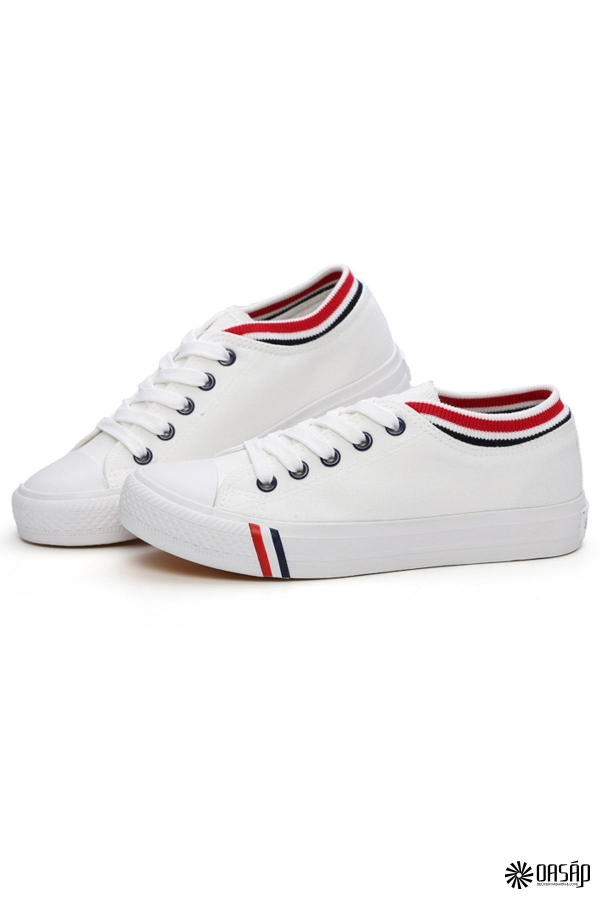 Striped Trim Canvas Sneakers - OASAP.com