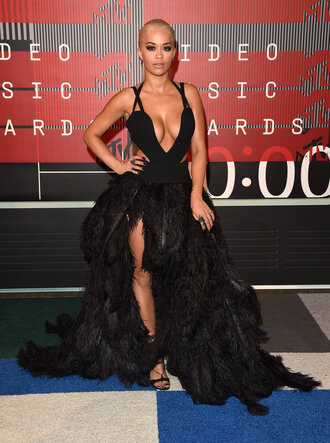 dress black dress rita ora vma gown prom dress plunge v neck plunge dress shoes