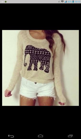 cream fuzzy sweater elephant sweater thin