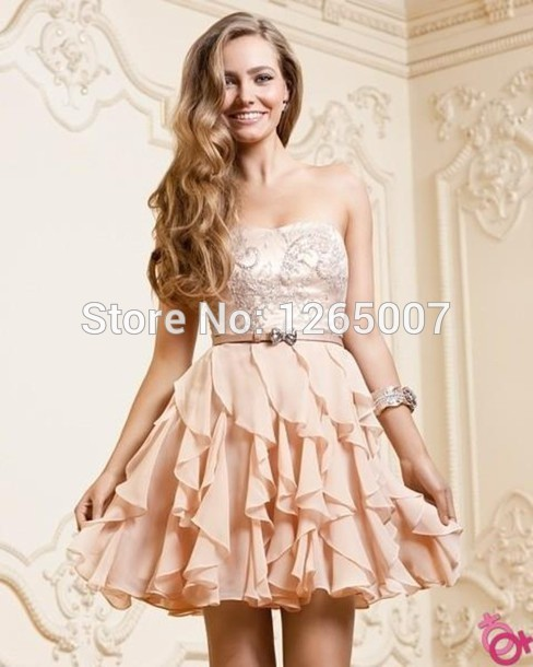 Aliexpress.com : Buy Sweetheart Nice Beaded Crystal Ruffles Chiffon A Line Mini Short Pretty Girl Party Dresses Gowns Nude Special Occasion Fashion from Reliable gown dress suppliers on SFBridal