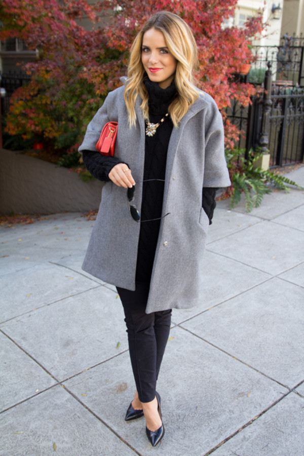 gal meets glam coat sweater pants bag jewels sunglasses shoes