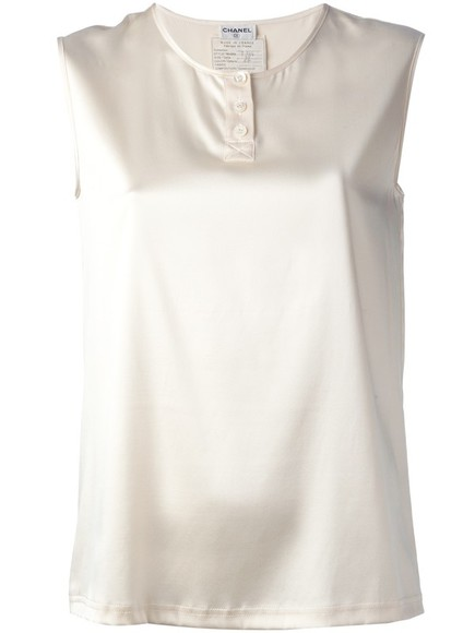 blouse silk white sleeveless top chanel vintage chanel sleeveless top