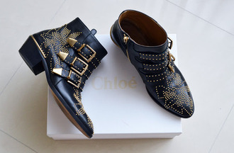 shoes ankle boots buckles black studs small heels tumblr chloe zara