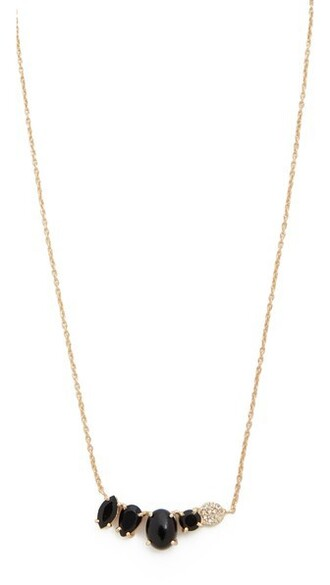 necklace gold black jewels