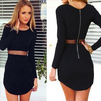 dress black cut-out zip