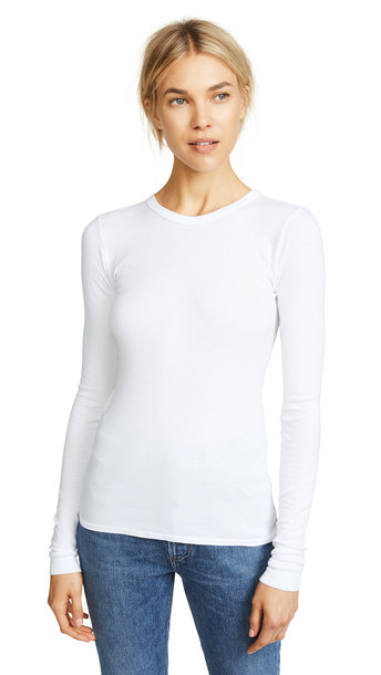 Enza Costa Bold Long Sleeve Crew Neck Tee in white