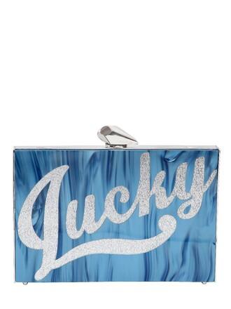 clutch white blue bag