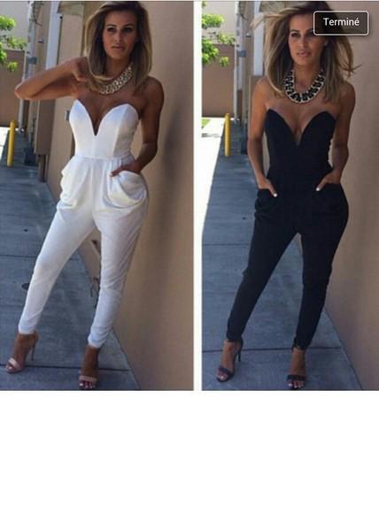 white black jumpsuit strapless