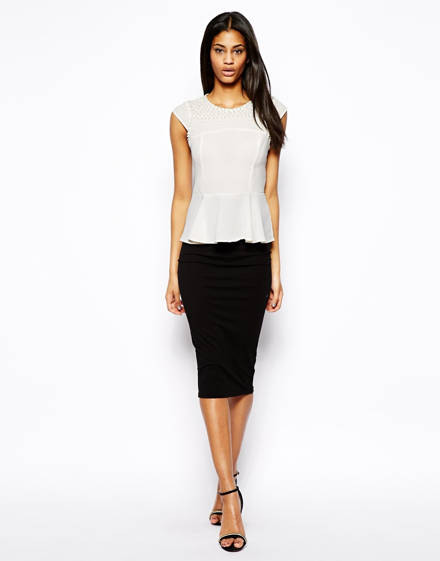 Lipsy Embellished Peplum Top at asos.com