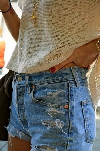 shorts levi's ripped shorts blue