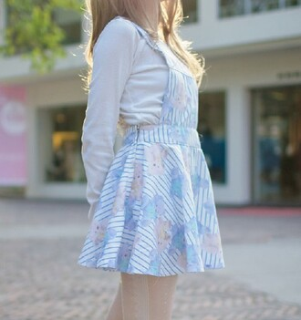 dress cute pastel kawaii pinafore striped dress stripes