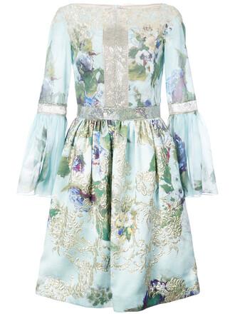 dress embroidered women flowers blue silk