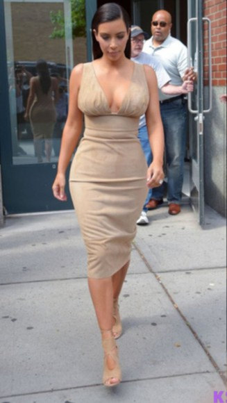 nude dress plunging neckline kim kardashian