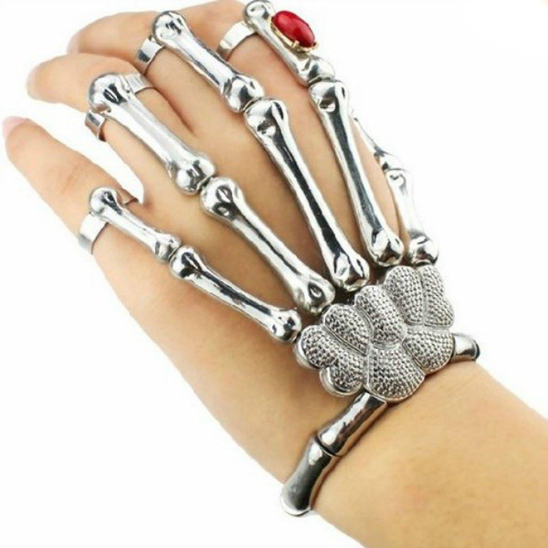 Amazon.com: silver cool punk rock skeleton skull hand bone ring bracelet: emo: jewelry