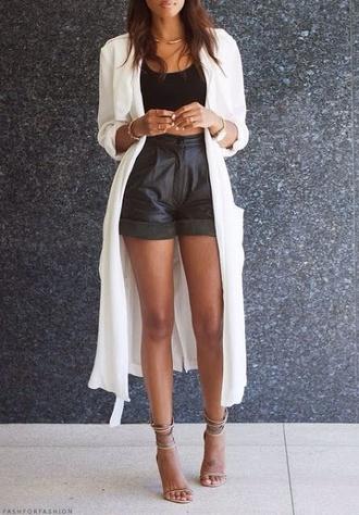 shorts long cardigan high waisted shorts blouse jacket white jacket leather shorts high waisted shorts long jacket black and white look