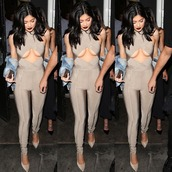 jumpsuit,kylie jenner,nude,celebrity,celebrity style,celebstyle for less,kardashians,bodycon,clubwear,sexy,sexy outfit,party outfits,date outfit,wedding clothes,wedding guest,bodycon dress,nude dress,beige dress,keeping up with the kardashians
